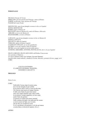 Shakespeare: Giulietta e Romeo