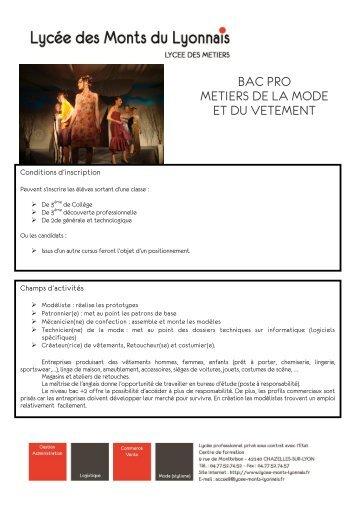 BAC PRO METIERS DE LA MODE ET DU VETEMENT - Lycée des ...