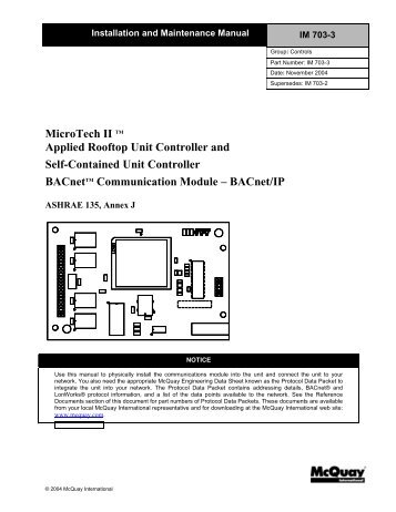 Microtech ii applied rooftop unit controller mcquay international bacnetip mcquay international swarovskicordoba Image collections