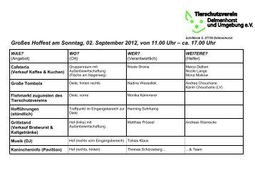 Großes Hoffest am Sonntag, 02. September 2012, von 11.00 Uhr ...