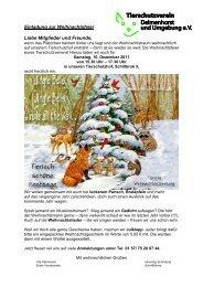 Einladung zur Weihnachtsfeier Liebe Mitglieder und Freunde,