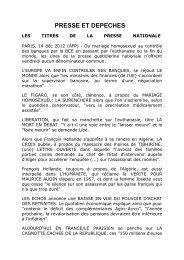 PRESSE ET DEPECHES - Regards.fr