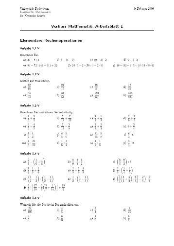 Vorkurs Mathematik: Arbeitsblatt 4 Potenzen mit ganzen Hochzahlen
