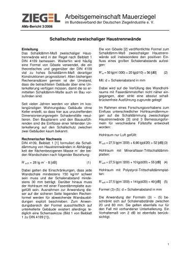 Schallschutz zweischaliger Haustrennwände - Bundesverband der ...