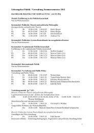 Lehrangebot Politik / Verwaltung Sommersemester 2012