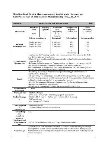 Modulhandbuch für den Masterstudiengang Vergleichende Literatur