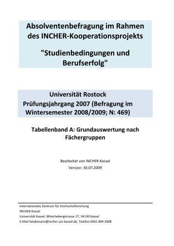 Absolventenbefragung im Rahmen des INCHER-Kooperationsprojekts