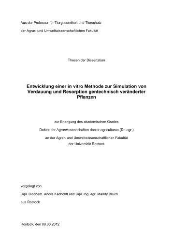 Entwicklung einer in vitro Methode zur Simulation von Verdauung ...