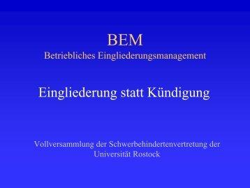 BEM Betriebliches Eingliederungsmanagement - Universität Rostock