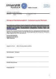 Antrag auf Verbesserung der Wartezeit - Universität Rostock