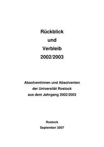 Rückblick und Verbleib 2002-2003 - Universität Rostock