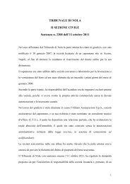TRIBUNALE DI NOLA II SEZIONE CIVILE Sentenza n. 2308 dell'11 ...