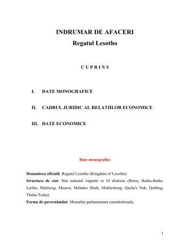 INDRUMAR DE AFACERI Regatul Lesotho - Departamentul de ...