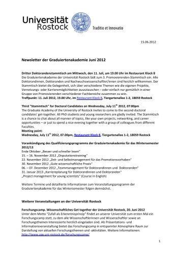 Newsletter der Graduiertenakademie Juni 2012 - Universität Rostock