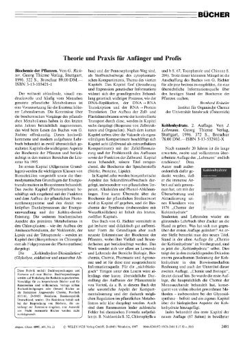 Kohlenhydrate. 2. Auflage. Von J. Lehmann. Georg Thieme Verlag ...