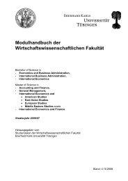 Modulhandbuch Wirtschaftswissenschaft - Universität Tübingen
