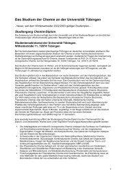 Das Studium der Chemie an der Universität Tübingen