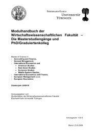 Modulhandbuch der - Universität Tübingen