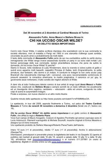 CHI HA UCCISO OSCAR WILDE? - Teatro Cardinal Massaia