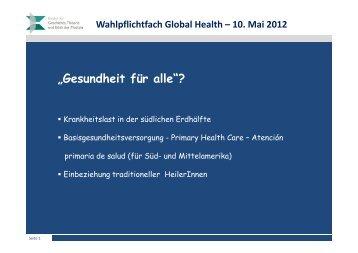 """""""Gesundheit für alle""""?"""