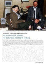 Vor allem Uni Ulm profitiert von Dr. Barbara Mez ... - Universität Ulm