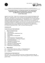 Fachspezifische Studien- und Prüfungsordnung für ... - Universität Ulm
