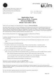 Application Form International M.Sc. Program Advanced Materials ...
