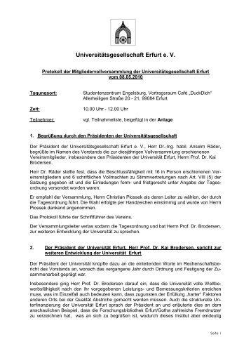 Protokoll der Mitgliedervollversammlung der ...