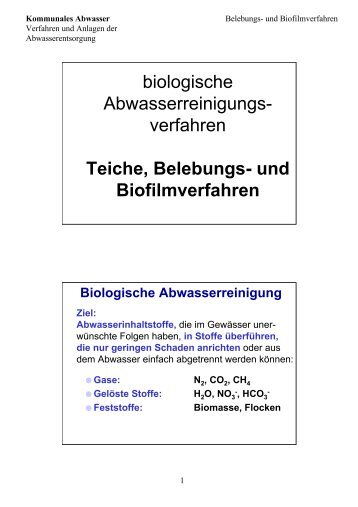 verfahren Teiche, Belebungs- und Biofilmverfahren