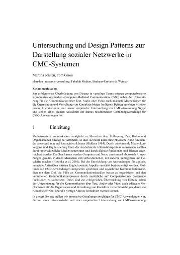 Untersuchung und Design Patterns zur Darstellung sozialer ...