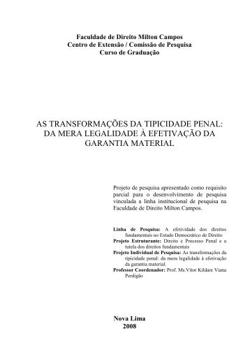 AS TRANSFORMAÇÕES DA TIPICIDADE PENAL ... - Milton Campos