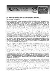 Tennis Festschrift 25 Jahre - Agfa-Sportverein eV