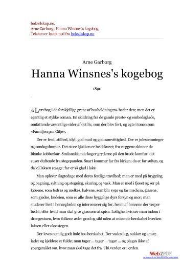 bokselskap.no. Arne Garborg: Hanna Winsnes's kogebog.