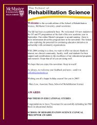 SRS Newsletter #7 - Faculty of Health Sciences - McMaster University