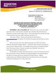 Press Release - Richard Stockton College of New Jersey