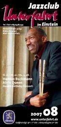 Hannes Beckmann Alvin Queen - Jazzclub Unterfahrt