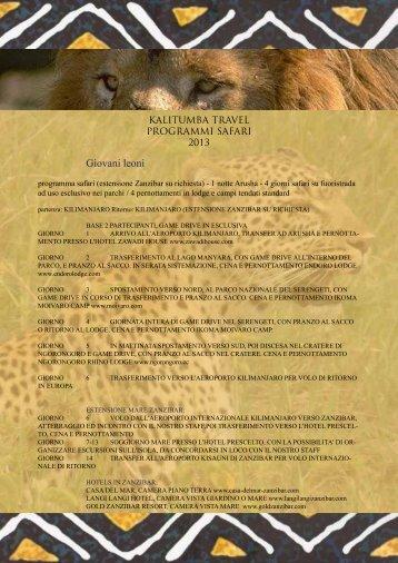 Scopri il programma safari - Kalitumba Travel