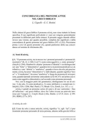 Concordanza del pronome autos nel greco biblico