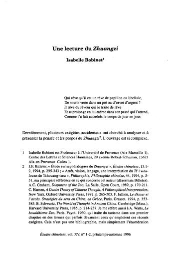 Une lecture du Zhuangzi - AFEC