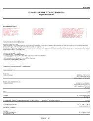FINANZIAMENTI EXPORT EURO/DIVISA Foglio informativo