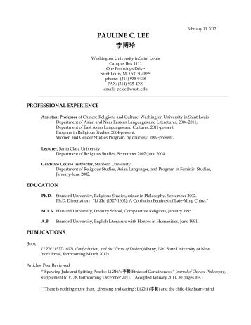 Pauline Lee CV - East Asian Languages and Cultures