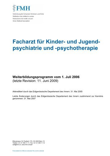 Facharzt für Kinder- und Jugendpsychiatrie und ... - FMH