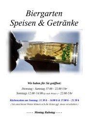 Biergarten Speisen & Getränke - Gasthof Loers