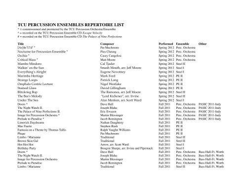 Download the Ensembles Repertoire List - TCU Percussion Studio