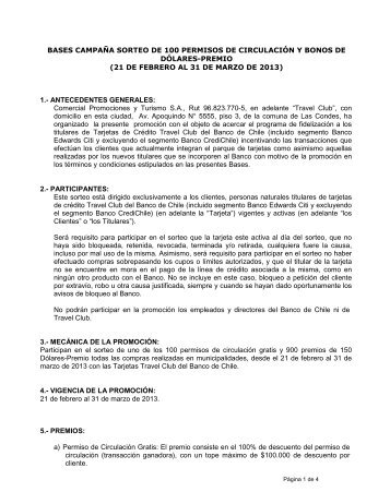 Bases Notariales Campaña SORTEOS PERMISOS ... - Banco de Chile