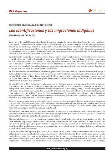 Las identificaciones y las migraciones indígenas - Virtualia