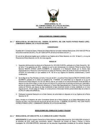 ORDEN GENERAL No. 141 DEL COMANDO GENERAL DE LA ...