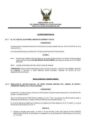 ORDEN GENERAL No. 057 DEL COMANDO GENERAL DE LA ...