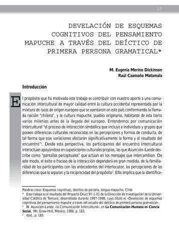 develación de esquemas cognitivos del pensamiento mapuche a ...