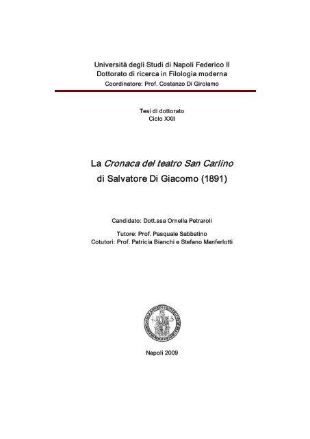 La Cronaca Del Teatro San Carlino Fedoa Universita Degli Studi